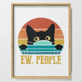 Vintage Black Cat Mask Eww People Funny Gifts Your Cat T-Shirt Serving Tray
