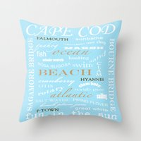 cape cod Throw Pillows featuring Cape Cod Typography Print by ELIZABETH THOMAS Photography of Cape Cod