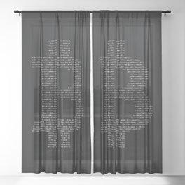 Bitcoin Binary Black Sheer Curtain