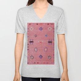 N61 - Lovely Pink Traditional Boho Farmhouse Moroccan Style Artwork Unisex V-Neck