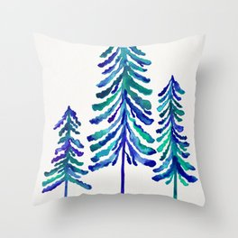 Pine Trees – Navy & Turquoise Palette Throw Pillow