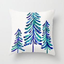 Pine Trees – Navy & Turquoise Palette Throw Pillow