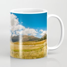 New Zealand landscape with golden grasses in South Island Coffee Mug