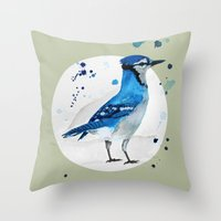 jay fleck Throw Pillows featuring Blue Jay by Condor