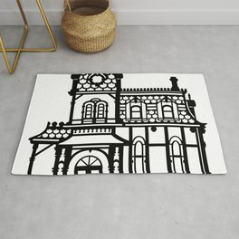 Old Victorian House - black & white Rug