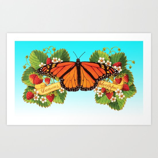 Monarch Butterfly with Strawberries on Aqua Art Print