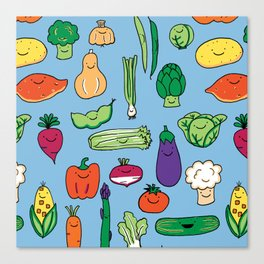 Cute Smiling Happy Veggies on blue background Canvas Print