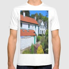 Caldey Island Village.Wales. MEDIUM White Mens Fitted Tee