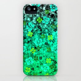 LUCK OF THE IRISH Colorful Emerald Green Ombre St Patricks Day Floral Shamrock Four Leaf Clover Art iPhone Case