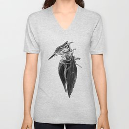 Kingfisher 1b.  White on black  background-(Red eyes series) Unisex V-Neck