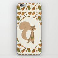 squirrel iPhone & iPod Skins featuring Squirrel by Jane Mathieu