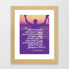 Ispirational Sports Quotes — Gordie Howe Framed Art Print