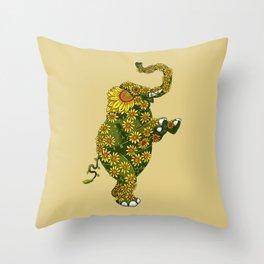 Elephant Sunflower Throw Pillow