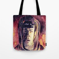 spock Tote Bags featuring Spock  by margaw