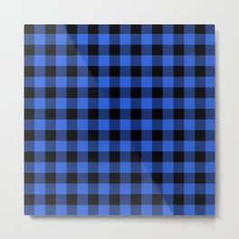 Royal Blue and Black Lumberjack Buffalo Plaid Fabric Metal Print