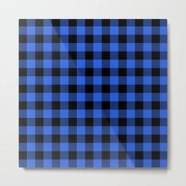 Royal Blue and Black Lumberjack Buffalo Plaid Fabric Metal Print