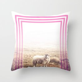 Sheep - pink graphic Throw Pillow