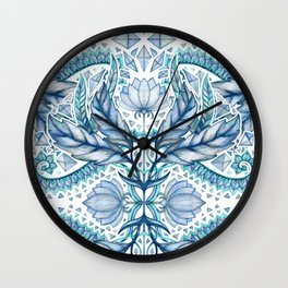 Lily, Leaf & Triangle Pattern – blues Wall Clock