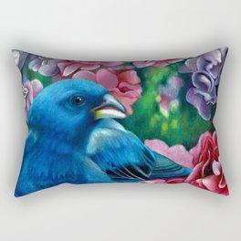 Indigo Bunting Colored Pencil Bird Artwork Drawing Rectangular Pillow
