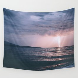 Lightning over the Strait of Georgia Wall Tapestry