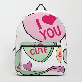 Candy Hearts Valentines Day Cute Conversation Hearts Pattern Background Backpack
