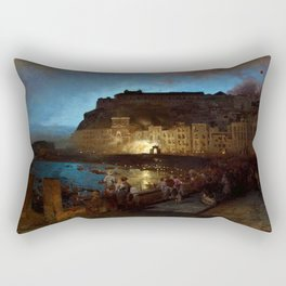 Fireworks in Naples by Oswald Achenbach Rectangular Pillow