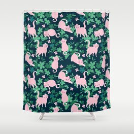 Sweet pink cats in greens illustration pattern. Shower Curtain