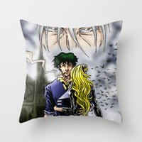 cowboy bebop Throw Pillows featuring Cowboy Bebop - A Walk In The Rain by MarioRojas