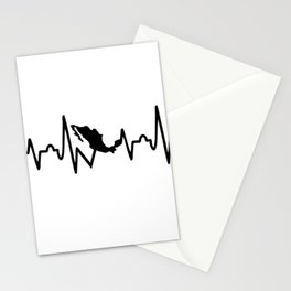 mexican heartbeat,map Stationery Cards