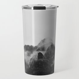 Snow Capped Mountains Fog (Black and White) Travel Mug