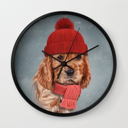 Drawing dog English Cocker Spaniel in hat and scarf Wall Clock
