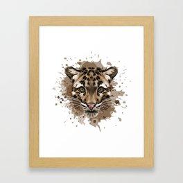 Clouded Leopard Stylized Digital Portrait Framed Art Print