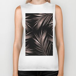 Rosegold Palm Tree Leaves on Midnight Black Biker Tank