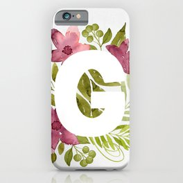 Monogram G with red waercolor flowers and green leaves. Floral letter G. Botanical illustration. iPhone Case