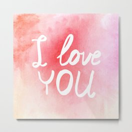 Watercolor love card Metal Print