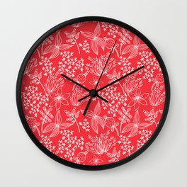 White Flowers on red. Wall Clock