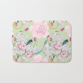 Shabby Chic Bluebirds and Roses Bath Mat