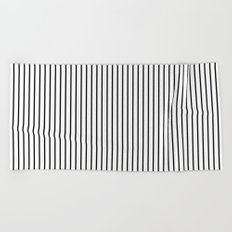 Vertical Lines (Black/White) Beach Towel