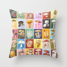 Mushroom Study Throw Pillow