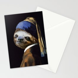 The Sloth with a Pearl Earring Stationery Cards
