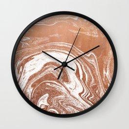 Marble suminagashi copper metallic japanese spilled ink watercolor ocean swirl marbling Wall Clock