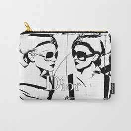 Sketched Fashion White on Black Carry-All Pouch