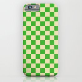 Psychedelic Checkerboard in Green and Cream iPhone Case