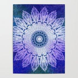 tie dye sunflower mandala in blues Poster