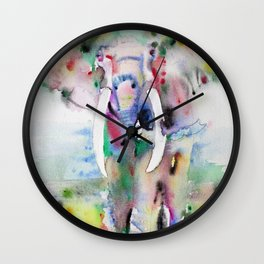 ELEPHANT - watercolor portrait.7 Wall Clock