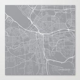 Syracuse Map, New York USA - Pewter Canvas Print