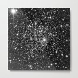 staRs Black & White Metal Print
