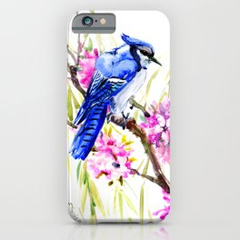 Blue Jay and Cherry Blossom, Blue Pink Birds and Flowers iPhone Case