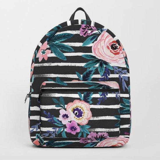 Victoria Floral Stripe Black Backpack