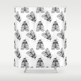 Moth Insect Pattern Pencil Drawing Shower Curtain